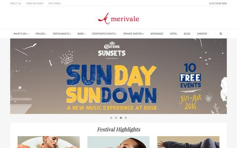 Screenshot of Home Page merivale.com.au - Merivale - Restaurants, Bars, Wedding Venues, Corporate Venues - Sydney - captured Feb. 4, 2016