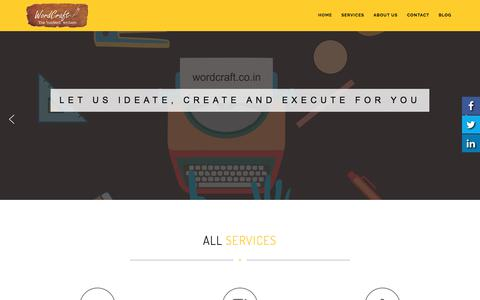 Screenshot of Home Page wordcraft.co.in - Professional Content writers in India for all types of content - captured Oct. 21, 2017