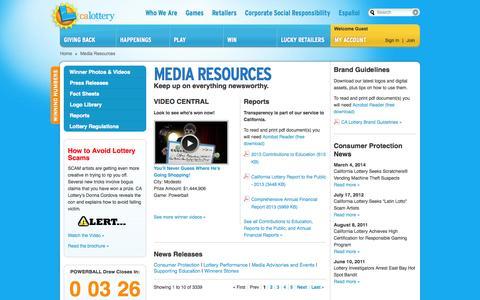 Screenshot of Press Page calottery.com - Media Resources - captured Sept. 18, 2014