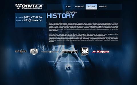 Screenshot of Services Page cintex.ca - History | CINTEX International - captured Oct. 2, 2014