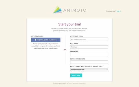 Screenshot of Trial Page animoto.com - Animoto - Try out Animoto Pro - captured Oct. 28, 2014