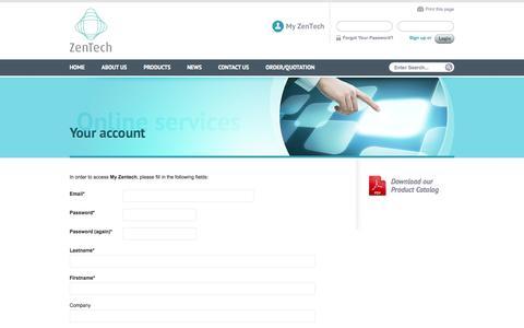 Screenshot of Signup Page zentech.be - Your account   Zentech - captured Oct. 27, 2014