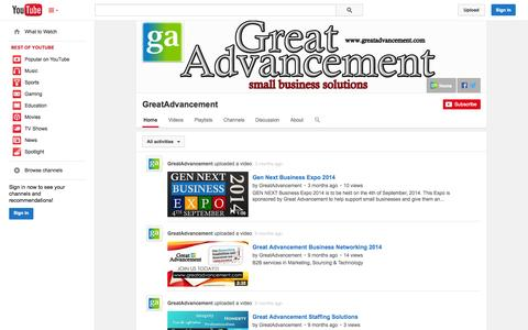Screenshot of YouTube Page youtube.com - GreatAdvancement  - YouTube - captured Oct. 22, 2014