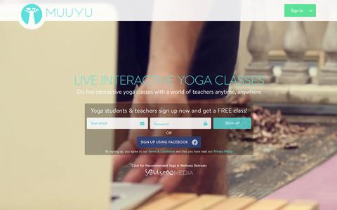 Screenshot of Home Page muuyu.com - Muuyu : Live Online Yoga Classes - captured Feb. 2, 2016