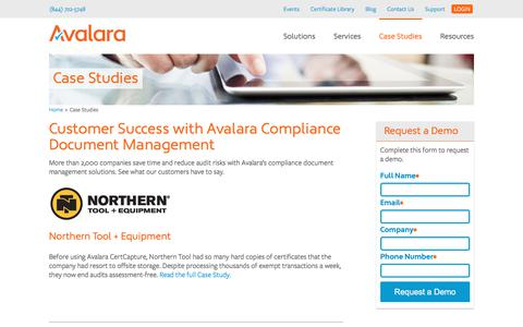 Screenshot of Case Studies Page avalara.com - Avalara Compliance Document Management Case Studies - captured Dec. 30, 2017