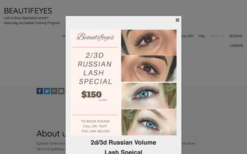 Screenshot of About Page beautifeyes.com.au - Eyelash Extensions Sydney | Healthy, stunning, lash extensions. Sydneys Most trusted Lash Specialist. - captured Oct. 5, 2018