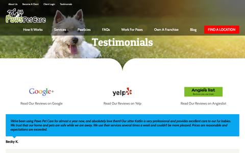 Screenshot of Testimonials Page pawspetcareathome.com - Testimonials | Paws Pet Care - captured Sept. 27, 2018