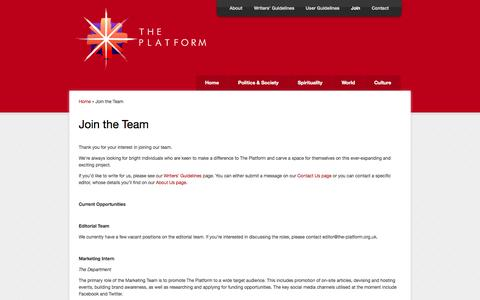 Screenshot of Signup Page the-platform.org.uk - Join the Team   The Platform - captured Oct. 9, 2014
