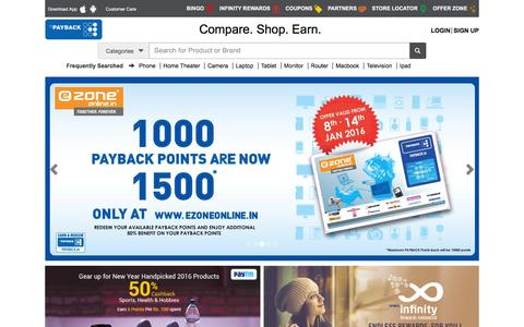 Screenshot of payback.in - Compare Price Online - Earn Rewards - Redeem Points - captured Jan. 13, 2016