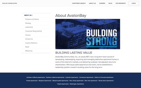 Screenshot of About Page avaloncommunities.com captured Jan. 9, 2020