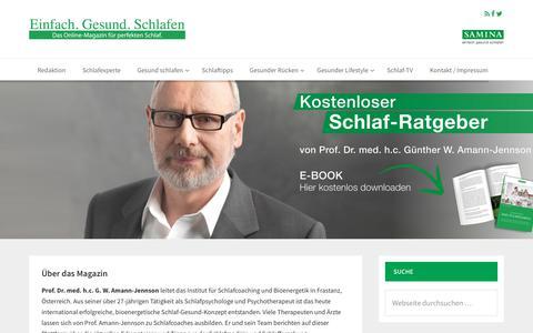 Screenshot of Home Page einfach-gesund-schlafen.com - Einfach.gesund.schlafen - Das Online-Magazin für den perfekten Schlaf - captured Oct. 31, 2017