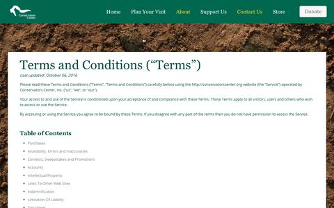 Screenshot of Terms Page conservatorscenter.org - Terms and Conditions - Conservators Center - captured July 20, 2018