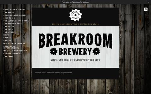 Screenshot of Home Page breakroombrewery.com - BreakRoom Brewery - captured Sept. 30, 2014