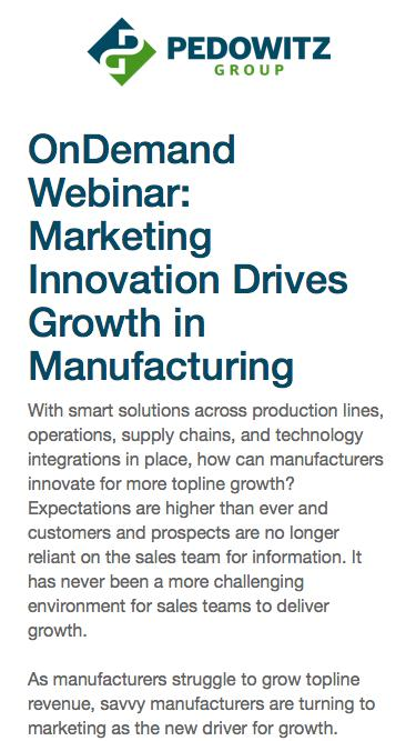 OnDemand Webinar: Marketing Innovation Drives Growth in Manufacturing