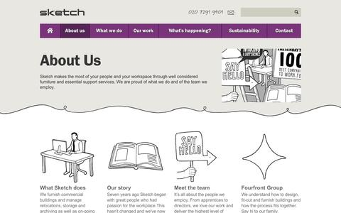 Screenshot of About Page sketchstudios.co.uk - Office furniture, relocation & documents archiving specialists | Sketch - captured Oct. 26, 2014