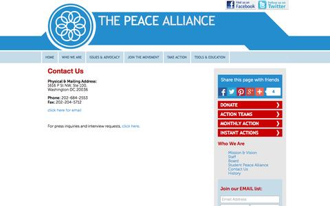Screenshot of Contact Page peacealliance.org - Contact Us | The Peace Alliance - captured Oct. 9, 2014