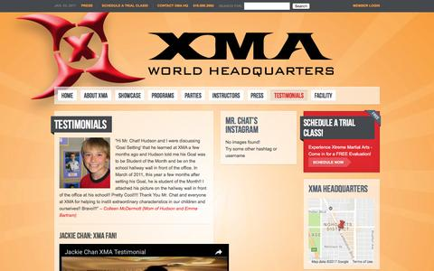 Screenshot of Testimonials Page xmahq.com - Testimonials | XMA World Headquarters - captured Jan. 4, 2017