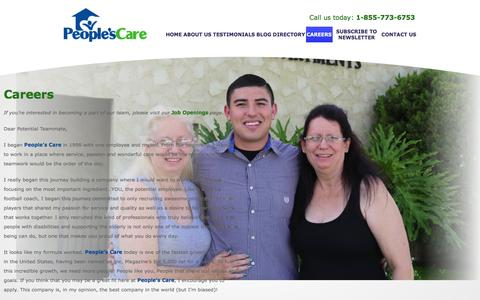 Screenshot of Jobs Page peoplescare.com - People's Care - Residential Care / Developmental Disabilities / Health Care - Chino Hills, California - Careers - captured Feb. 19, 2016