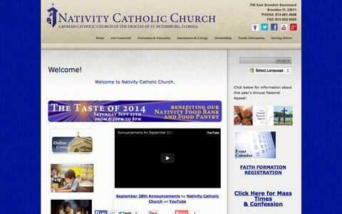 Screenshot of Home Page nativitycatholicchurch.org - Nativity Catholic Church:  Welcome! - captured Sept. 30, 2014