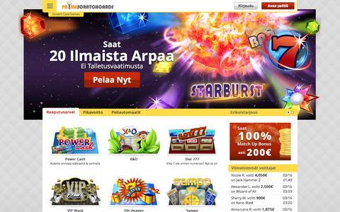 Screenshot of primescratchcards.com - Online raaputuskortti pelejä - 20 ILMAISTA peliä | Prime Scratch Cards - captured March 19, 2016