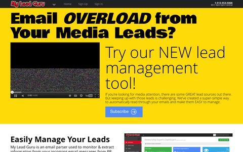 Screenshot of Home Page myleadguru.com - My Lead Guru - Experts on business, travel, and just about any topic you can think of! - captured Feb. 21, 2016