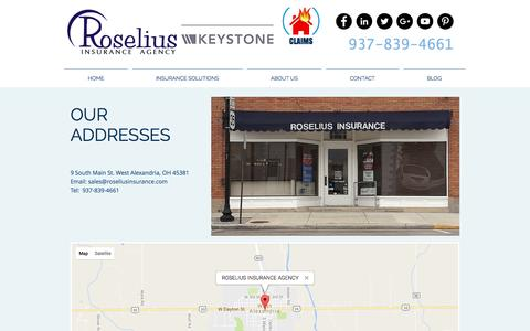 Screenshot of Maps & Directions Page roseliusinsurance.com - CONTACT US MAP - captured Dec. 20, 2016