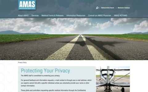 Screenshot of Privacy Page aviationmedicine.com - Privacy Policy | AMAS - captured Oct. 4, 2014