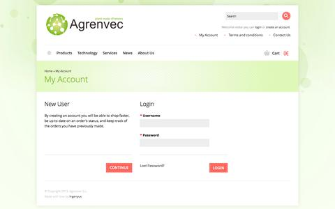 Screenshot of Login Page agrenvec.com - My Account | Agrenvec - captured Sept. 30, 2014