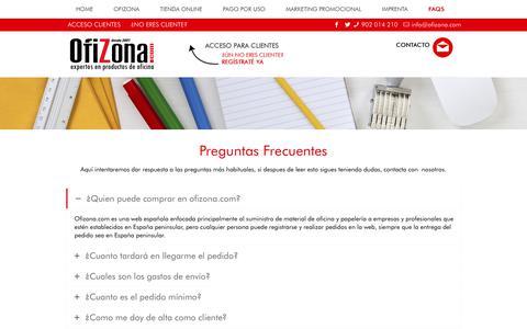Screenshot of FAQ Page ofizona.com - Ofizona | Preguntas Frecuentes - captured April 20, 2018