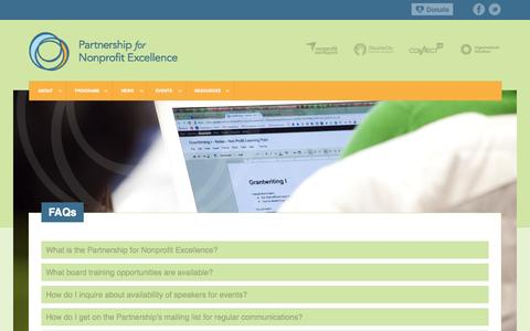 Screenshot of FAQ Page pnerichmond.org - FAQs | Partnership for Nonprofit Excellence - captured Oct. 2, 2014