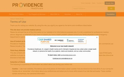 Screenshot of Terms Page providence.on.ca - Providence Healthcare :: Terms of Use - captured Feb. 14, 2018
