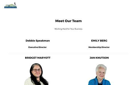 Screenshot of Team Page homeralaska.org - Our Team - Welcome to Homer Alaska | Homer Chamber of Commerce - captured Aug. 27, 2017