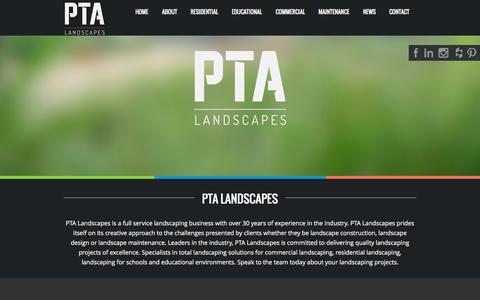 Screenshot of Home Page ptalandscapes.com.au - PTA Landscapes PTA Landscapes Project Solutions Official Website - captured July 17, 2015