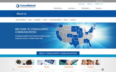 Screenshot of About Page consolidated.com - About Consolidated Communications - captured July 20, 2018