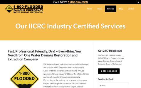 Screenshot of Services Page 1800floodedcolorado.com - Our Services | 1-800-FLOODED, Colorado Springs, CO - captured Sept. 27, 2016