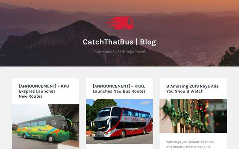 Screenshot of Blog catchthatbus.com - CatchThatBus | Blog – Your Guide to All-Things Travel - captured June 20, 2019