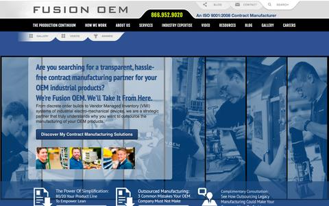 Screenshot of Home Page fusionoem.com - Contract Manufacturing For Product Lifecycle Profitability: Fusion OEM | Fusion OEM - Chicago, IL - captured Dec. 1, 2015