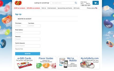 Screenshot of Signup Page jellybelly.com - Sign up - Jelly Belly Candy Company - captured Aug. 27, 2016