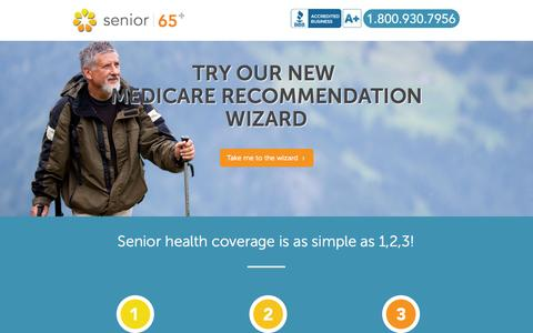 Screenshot of Home Page senior65.com - Senior65 - captured Sept. 23, 2014