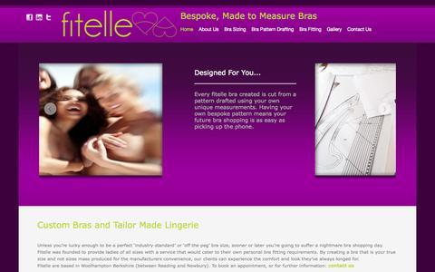 Screenshot of Home Page fitelle.com - Bespoke Tailor Made Bras | Custom Bra Makers | Fitelle Lingerie UK - captured Oct. 6, 2014