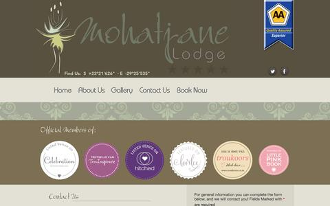 Screenshot of Contact Page mohatjane.co.za - Welcome to Mohatjane - captured April 8, 2016