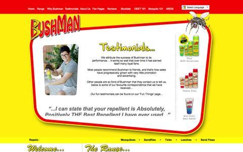 Screenshot of Testimonials Page bushman-repellent.com - Bushman Testimonials - Australia's Number 1 Premium Insect Repellent - captured Oct. 5, 2014