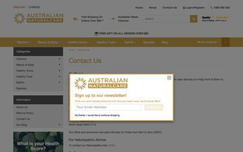Screenshot of Contact Page ausnaturalcare.com.au - Contact Us - captured Sept. 22, 2018