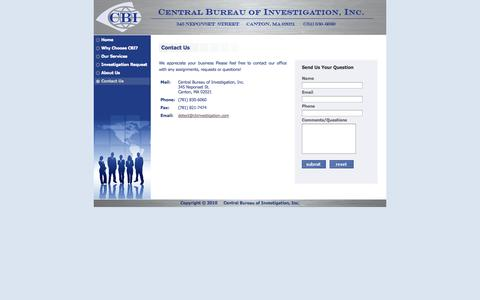 Screenshot of Contact Page cbinvestigation.com - Contact Us | Central Bureau of Investigation, Inc. - captured Oct. 2, 2014