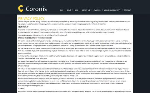 Screenshot of Privacy Page coronis.com.au - Coronis Realty > Privacy Policy - captured Oct. 5, 2014