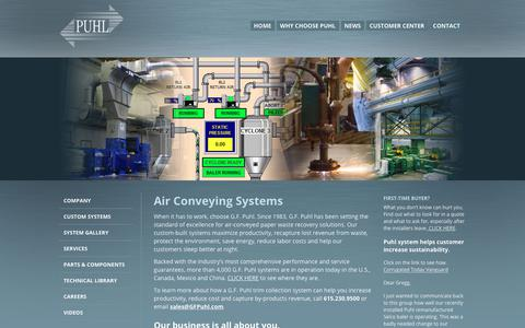 Screenshot of Home Page gfpuhl.com - Air Conveying Systems   Waste Recovery Systems - captured Nov. 4, 2018