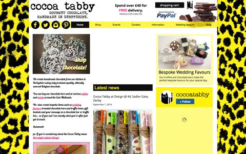 Screenshot of Home Page cocoatabby.co.uk - Cocoa Tabby Handmade Chocolates Derby - captured Oct. 3, 2014