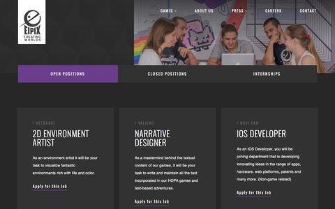Screenshot of Jobs Page eipix.com - Careers   Eipix Entertainment - captured Nov. 2, 2016
