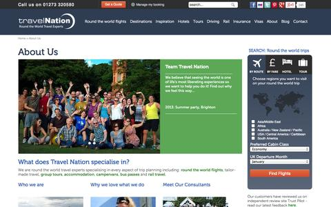 Screenshot of About Page travelnation.co.uk - About Travel Nation Round The World Trip Specialist Brighton UK - captured Sept. 18, 2014