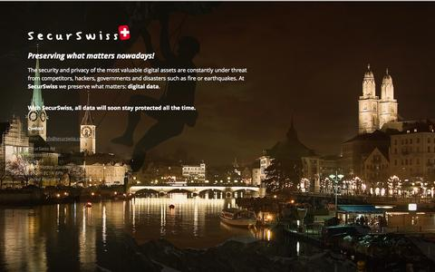 Screenshot of Home Page securswiss.com - Coming Soon - captured Sept. 30, 2014
